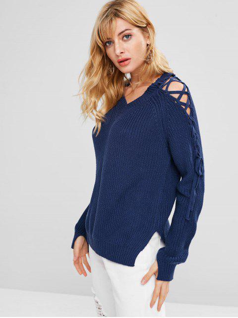 Suéter con cuello en V de encaje en frío - Azul Única Talla Mobile