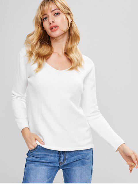 Jerseys con cuello en V de dobladillo - Blanco Única Talla Mobile