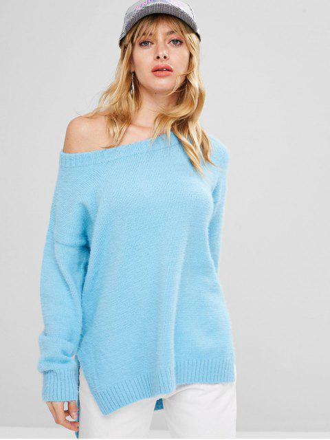 Suéter borroso de corte holgado bajo alto - Cielo Azul Oscuro Talla única Mobile