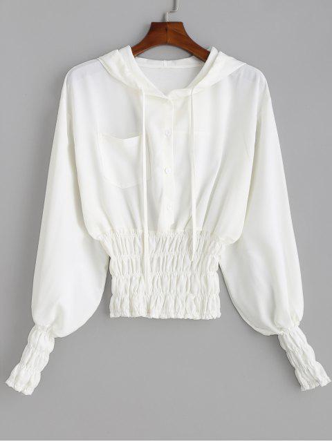 Blusa con capucha con cintura calada - Blanco M Mobile