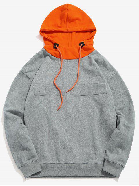 Color Block Patch Fleece Hoodie - Gris Nublado XL Mobile