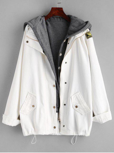 Chaqueta vaquera con botones y chaleco con capucha - Blanco 2XL Mobile