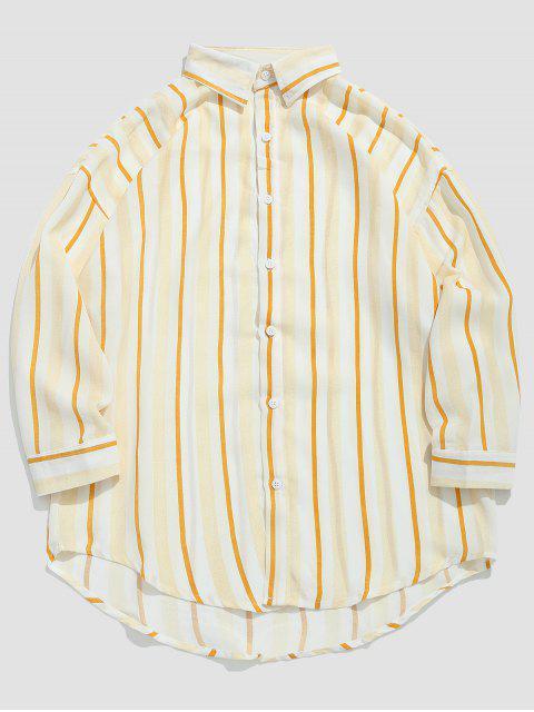 Camisa Casual de Rayas - Amarilla de Abeja  M Mobile