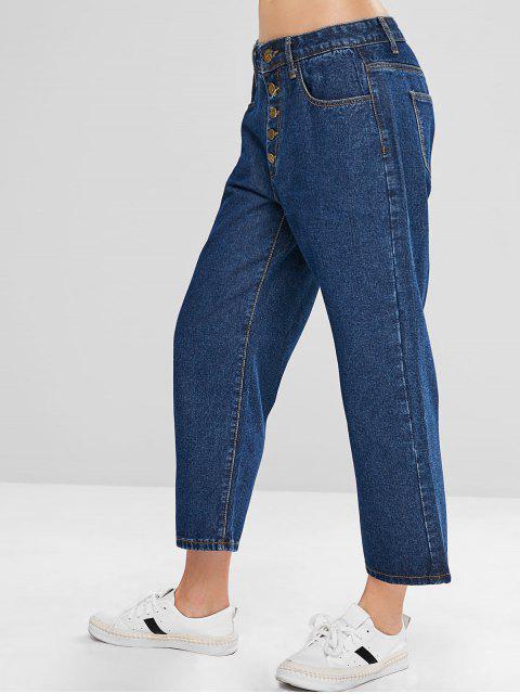 ZAFUL Wide Leg Button Fly Jeans - Azul Oscuro de Denim M Mobile