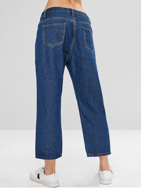 ZAFUL Wide Leg Button Fly Jeans - Azul Oscuro de Denim S Mobile