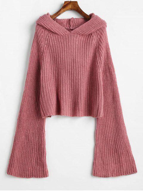latest Hooded Bell Sleeve Loose Sweater - PINK ONE SIZE Mobile