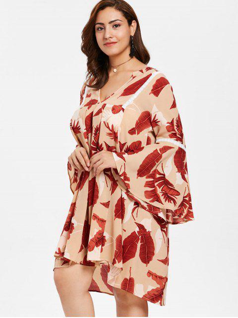 sale ZAFUL Plus Size Flare Sleeve Printed Dress - MULTI L Mobile