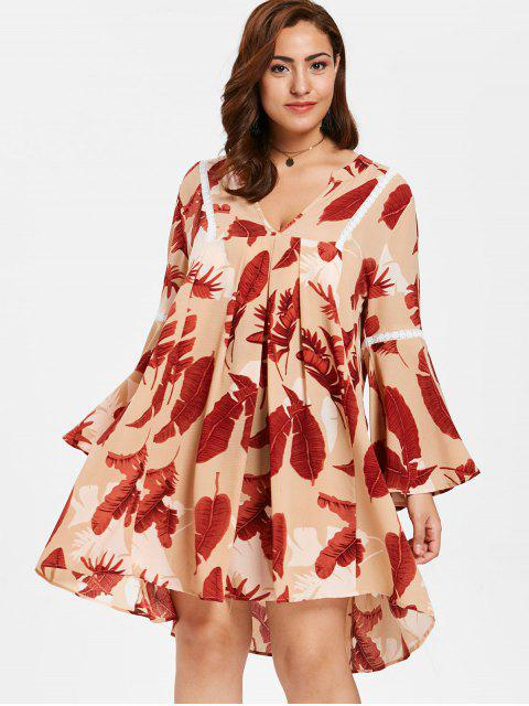 online ZAFUL Plus Size Flare Sleeve Printed Dress - MULTI 2X Mobile