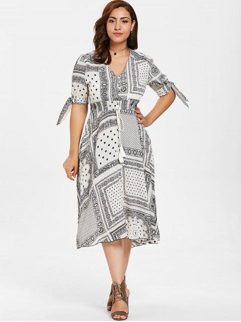 outfit ZAFUL Plus Size Tassels Printed Dress - WARM WHITE 1X Mobile