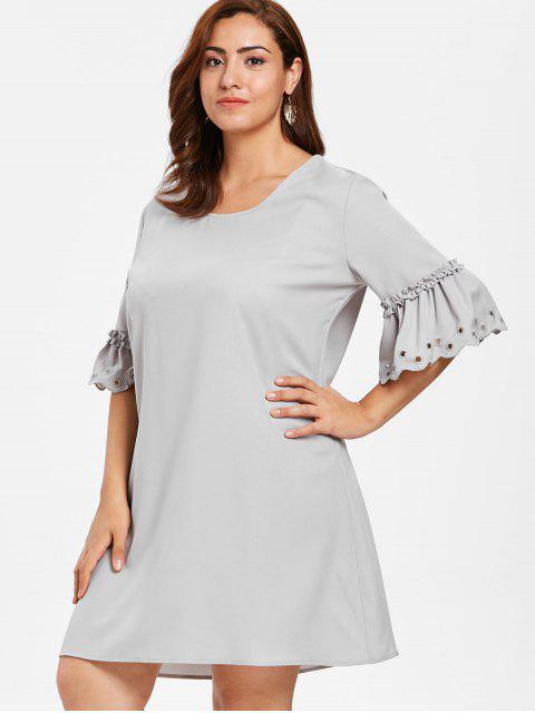 buy ZAFUL Plus Size Eyelet Flare Sleeve Dress - PLATINUM 2X Mobile
