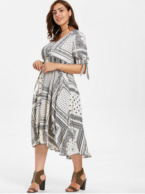 affordable ZAFUL Plus Size Tassels Printed Dress - WARM WHITE 2X Mobile