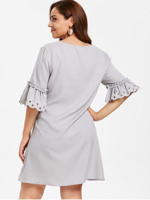 online ZAFUL Plus Size Eyelet Flare Sleeve Dress - PLATINUM L Mobile