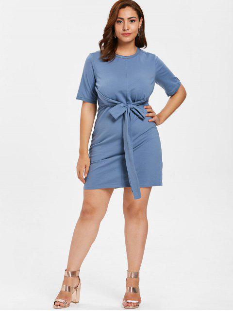 hot ZAFUL Plus Size Knotted Shift Dress - BLUE GRAY 3X Mobile