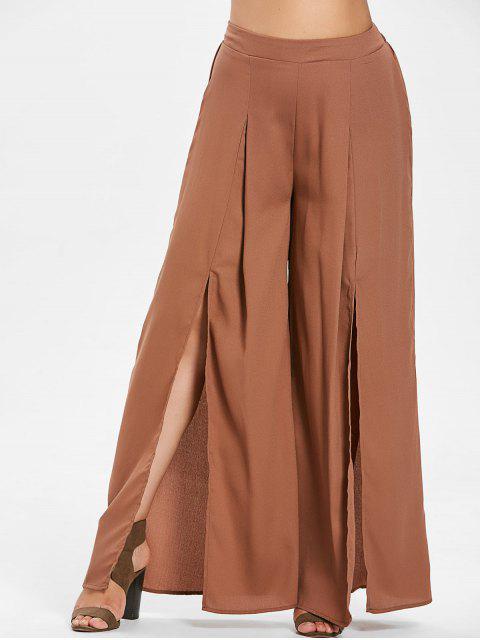 fashion ZAFUL Plus Size Slit Wide Leg Pants - WOOD 1X Mobile