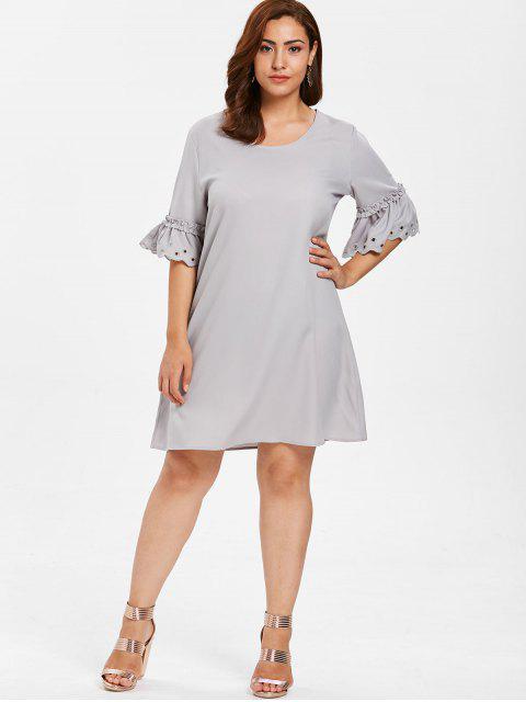 women's ZAFUL Plus Size Eyelet Flare Sleeve Dress - PLATINUM 3X Mobile