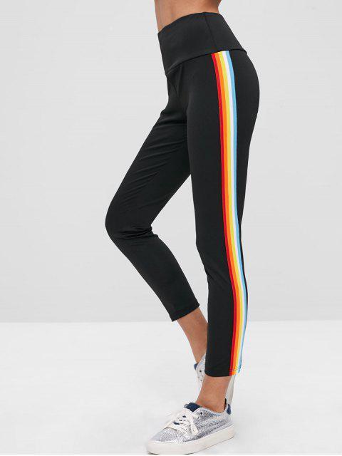shops ZAFUL Rainbow Stripe Tights Leggings - BLACK L Mobile