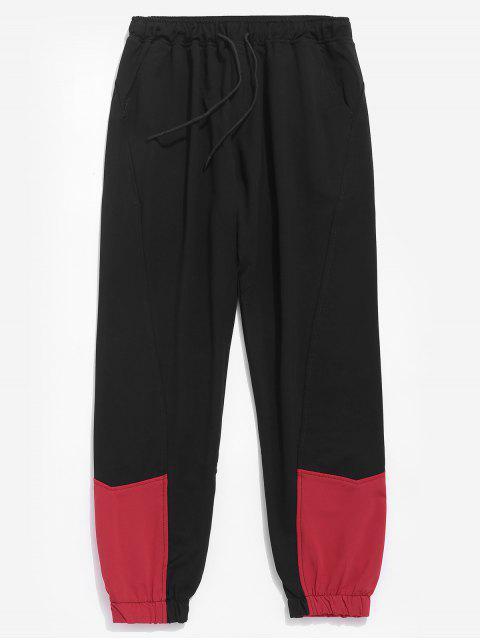 womens Contrast Color Drawstring Waist Pants - BLACK XL Mobile