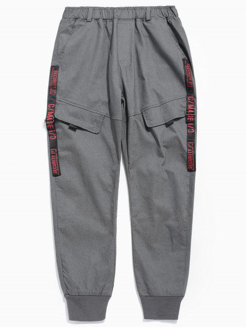 shop Pocket Design Letter Print Pants - DARK GRAY L Mobile