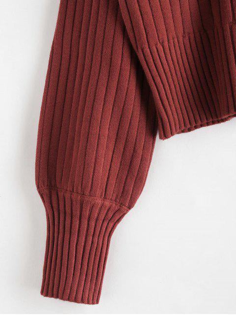 affordable Dropped Shoulder Mock Neck Sweater - CHERRY RED ONE SIZE Mobile