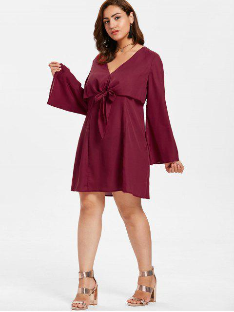 outfit ZAFUL Plus Size Tie Front Mini Dress - RED WINE 3X Mobile
