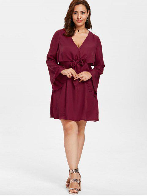 fashion ZAFUL Plus Size Tie Front Mini Dress - RED WINE 4X Mobile