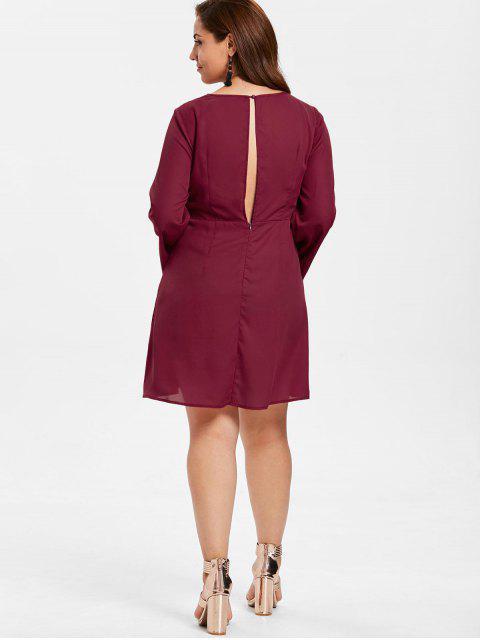 unique ZAFUL Plus Size Tie Front Mini Dress - RED WINE 2X Mobile
