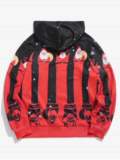 buy ZAFUL Christmas Santa Socks Printed Hoodie - BLACK XL Mobile
