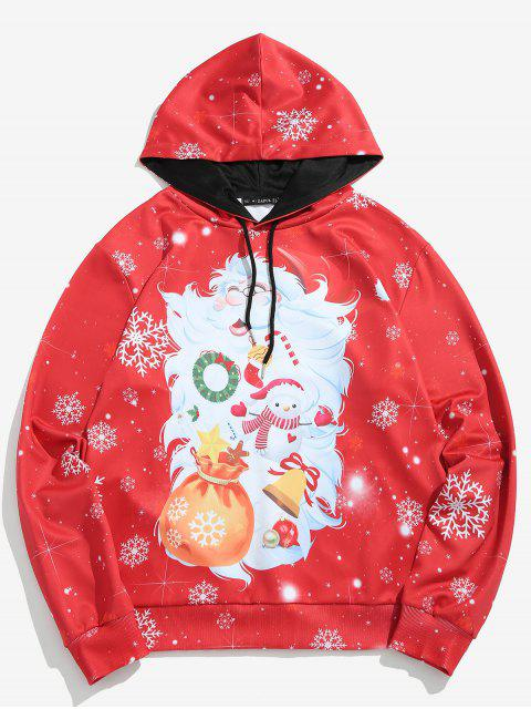 affordable ZAFUL Santa Claus Print Pullover Hoodie - LAVA RED XL Mobile