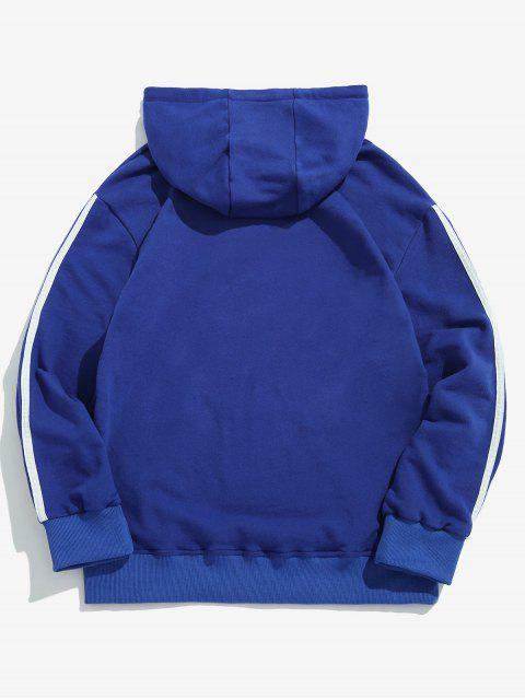 outfit ZAFUL Chest Letter Side Striped Hoodie - BLUEBERRY BLUE 2XL Mobile