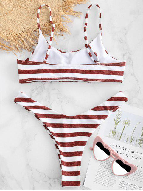 trendy ZAFUL Striped Bralette Bikini Set - MULTI L Mobile