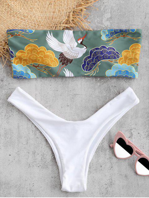 ZAFUL Vogelmuster- Bandeau- Bikini- Set - Rehbraunes Grün M Mobile