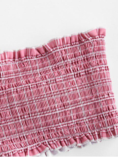 trendy ZAFUL Checked Frilled Smocked Bikini Set - PINK ROSE L Mobile