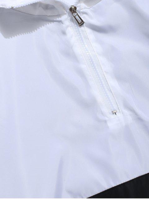 Sweat-Shirt à Capuche Rayé Graphique avec Inscription et Demi-Fermeture Éclair en Dégradé de Couleurs - Blanc L Mobile