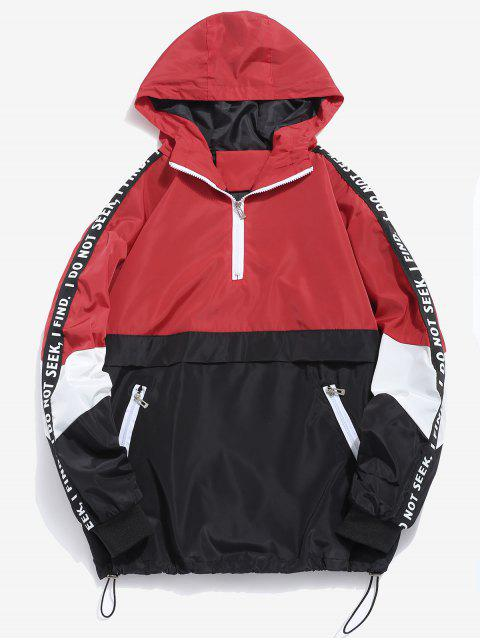 shop Contrast Half Zip Graphic Striped Hoodie - RED L Mobile
