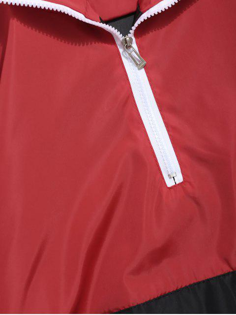Kontrast-Hoodie mit Reißverschluss und Halbem Reißverschluss - Rot 2XL Mobile
