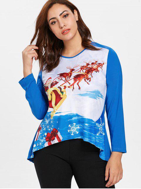 women's Plus Size Santa Claus Christmas T-shirt - DODGER BLUE 2X Mobile