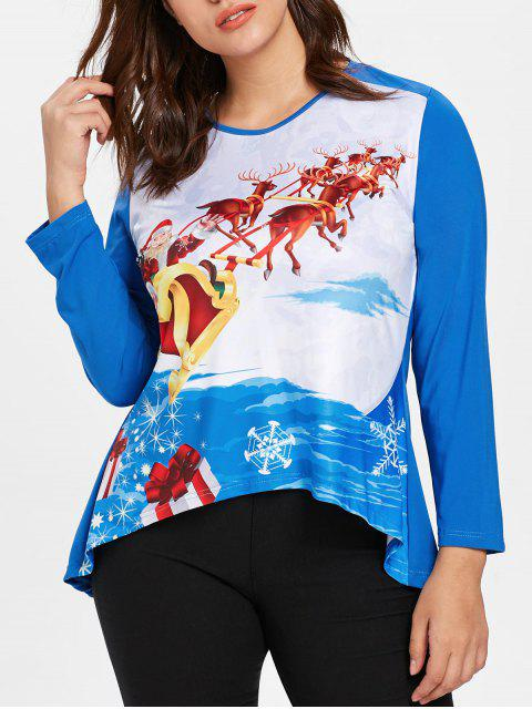 Plus Size Santa Claus Christmas T-shirt - 道奇藍 L Mobile