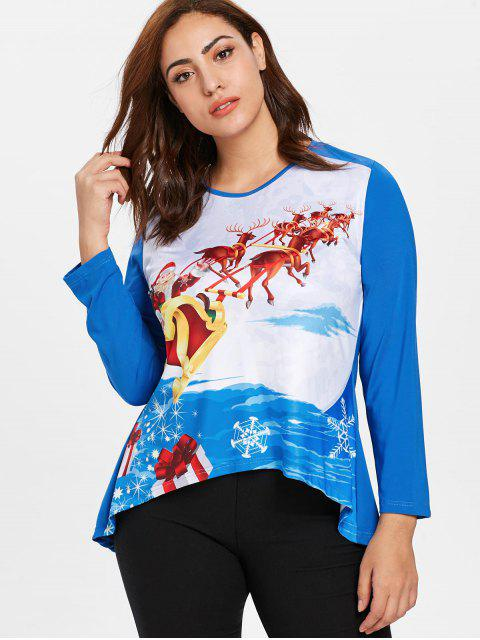 online Plus Size Santa Claus Christmas T-shirt - DODGER BLUE L Mobile