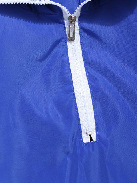 unique Contrast Half Zip Graphic Striped Hoodie - BLUE 3XL Mobile