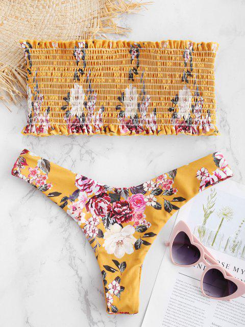 ZAFUL   مجموعة بيكيني العصابة مزين بأزهار - نحلة صفراء M Mobile