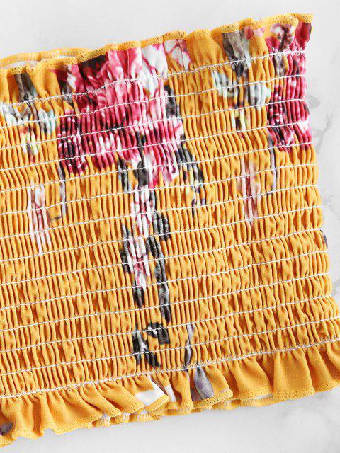 Conjunto de biquíni de bandana Shirred Floral Zaful - Abelha Amarela M Mobile