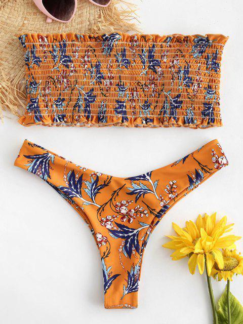Bikini con Estampado de Pplantas  ZAFUL - Amarilla de Abeja  S Mobile