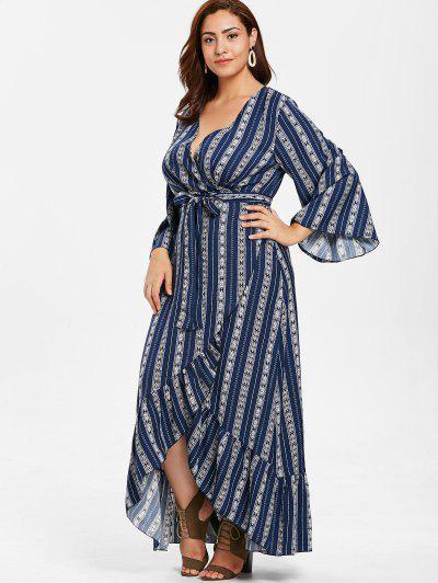 5ad685cb2ce ... ZAFUL Plus Size Wrap Flounce Long Dress - Midnight Blue L