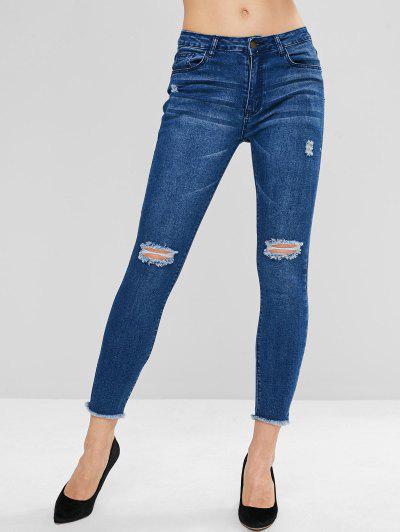 ZAFUL Frayed Hem Ripped Skinny Jeans - Denim Dark Blue S