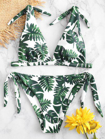 a12c44be05981 ZAFUL Palm Tie Shoulder Bikini Set - White M