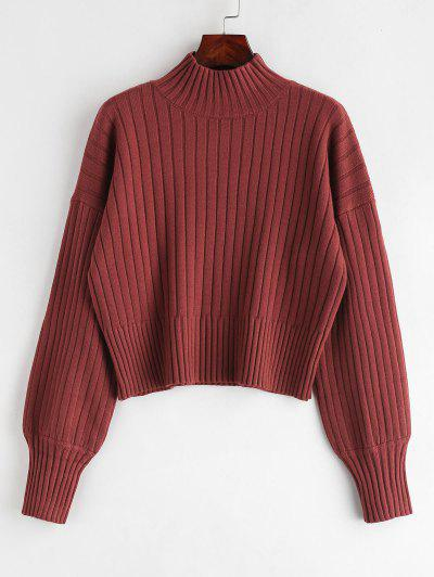 Dropped Shoulder Mock Neck Sweater - Cherry Red ... 1a675e113