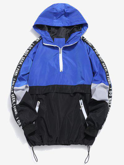 Contrast Half Zip Graphic Striped Hoodie - Blue L