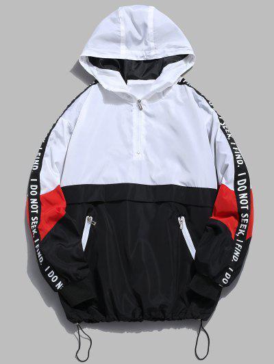 Contrast Half Zip Graphic Striped Hoodie - White 2xl