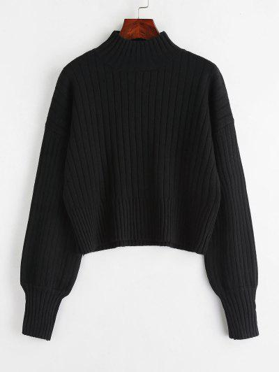 Dropped Shoulder Mock Neck Sweater - Black