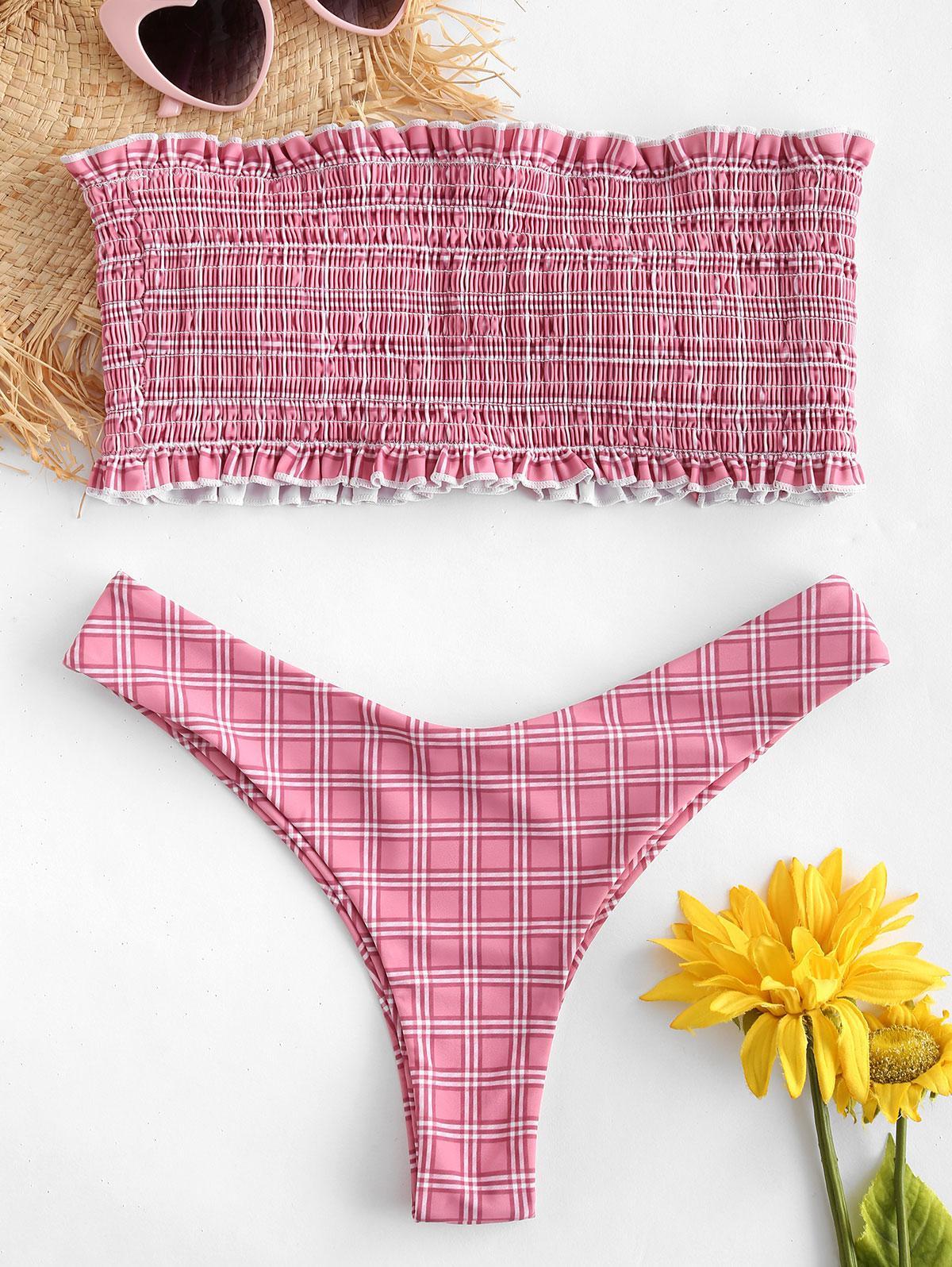 ZAFUL Checked Frilled Smocked Bikini Set